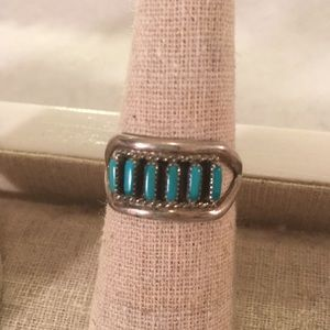 Zuni silver & turquoise ring size 7.5 vintage